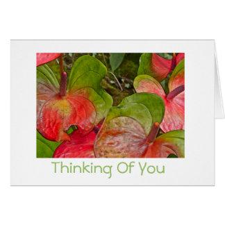 Het denken aan u Rode en Groene Anthuriums/spatie Briefkaarten 0