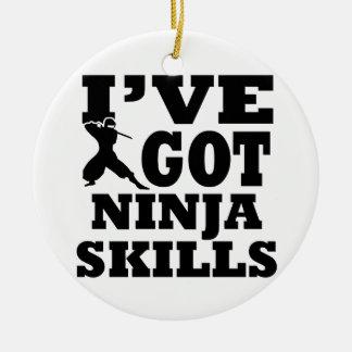 Het design van de Vechtsporten van Ninja Rond Keramisch Ornament