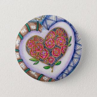 Het Detail van harten & van Bloemen (2.25 Ronde Button 5,7 Cm