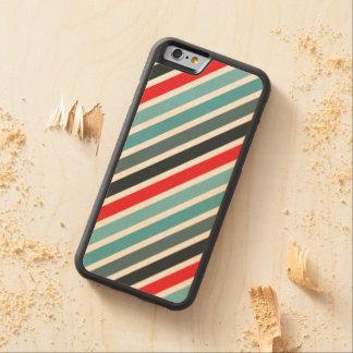 Het diagonale Rode Patroon van de Streep en Esdoorn iPhone 6 Bumper Case