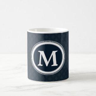 Het diep Klassieke Marineblauwe Monogram van de Koffiemok