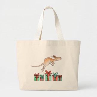 Het dierlijke hoppen van de kangoeroe over de zak grote draagtas