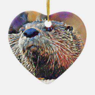 Het Digitale Olieverfschilderij van de Otter van Keramisch Hart Ornament