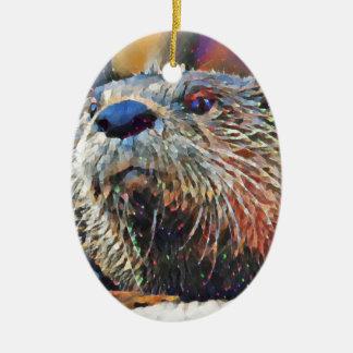 Het Digitale Olieverfschilderij van de Otter van Keramisch Ovaal Ornament