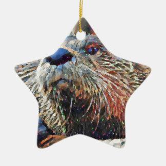 Het Digitale Olieverfschilderij van de Otter van Keramisch Ster Ornament