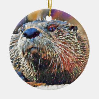 Het Digitale Olieverfschilderij van de Otter van Rond Keramisch Ornament