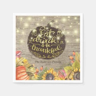 Het Diner van de Thanksgiving van de Pompoenen van Papieren Servetten
