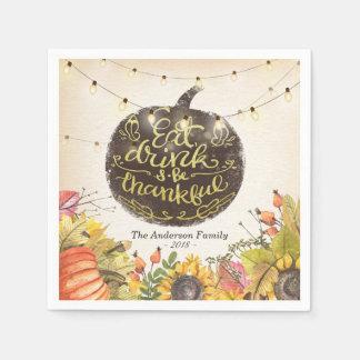 Het Diner van de Thanksgiving van de Pompoenen van Wegwerp Servet