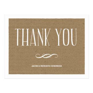 Het Document van kraftpapier dankt u Briefkaart