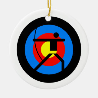Het Doel en de Schutter van het boogschieten Rond Keramisch Ornament
