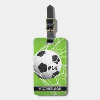 Het DOEL van de Bal van het voetbal Bagagelabel