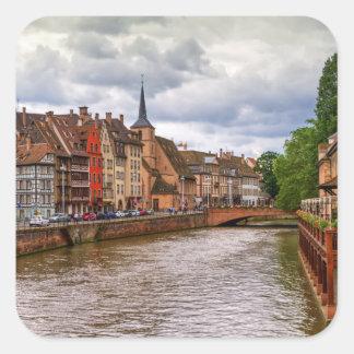 Het dok van het Saint Nicolas in Straatsburg, Vierkante Sticker
