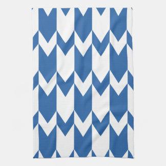Het donkerblauwe en Witte Patroon van de Chevron Theedoek
