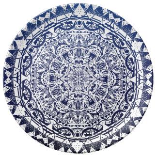 Het donkerblauwe Patroon van Mandala van de Porseleinen Bord