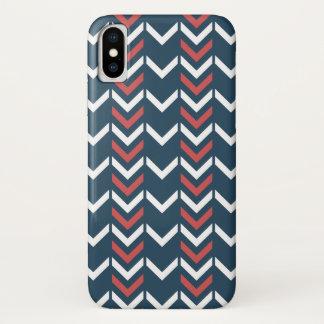 Het donkerblauwe & Rode Geometrische Patroon van iPhone X Hoesje