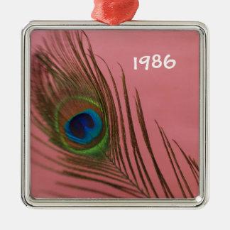 Het donkere Roze Stilleven van de Veer van de Pauw Zilverkleurig Vierkant Ornament