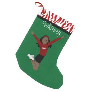 Het Donkere Zwarte Haar van Cheerleader in Rood & Kleine Kerstsok