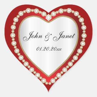 Het donkerrode Witte Hart van het Juweel van de Hart Sticker