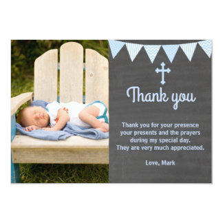 Het doopsel dankt u nota neemt van het Blauwe Bord Kaart