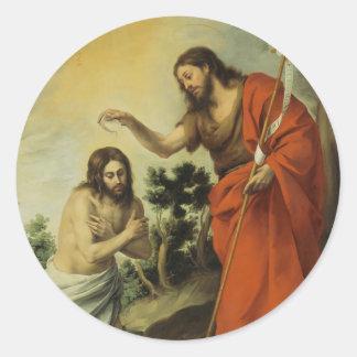 Het doopsel van Christus door Bartolome Esteban Ronde Sticker
