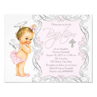 Het Doopsel van de Engel van meisjes 10,8x13,9 Uitnodiging Kaart