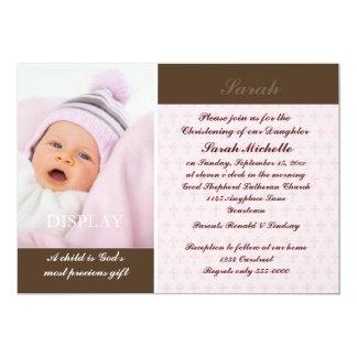 Het Doopsel van de Foto van meisjes 12,7x17,8 Uitnodiging Kaart