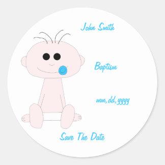 Het Doopsel van de Jongen van het baby bewaart de Ronde Sticker