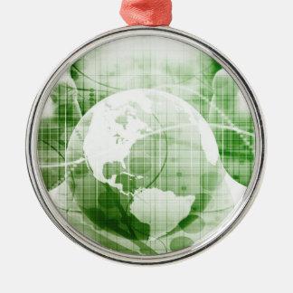 Het doorgaan met BedrijfsSucces en de Groei Zilverkleurig Rond Ornament