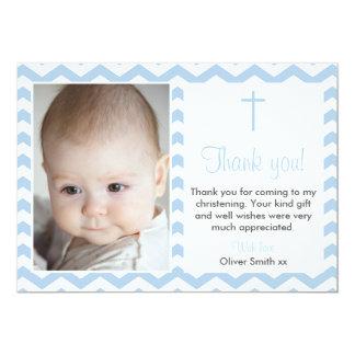 Het Dopen/het Doopsel van jongens dankt u kaardt 12,7x17,8 Uitnodiging Kaart