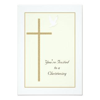 Het dopen nodigt het Kruis en de Duif van de 12,7x17,8 Uitnodiging Kaart