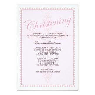 Het dopen van Dwars Roze Uitnodiging