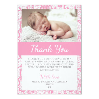Het Dopen van meisjes dankt u kaardt 12,7x17,8 Uitnodiging Kaart
