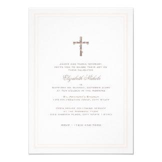 Het dopen van Zachte Roze en Bruin 12,7x17,8 Uitnodiging Kaart
