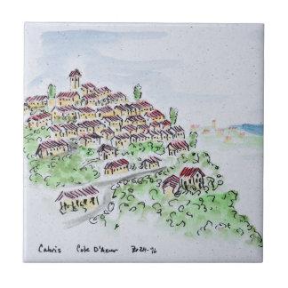 Het dorp van de heuveltop van Cabris de | Tegeltje