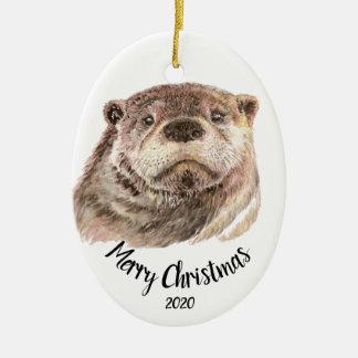 Het douane Gedateerde Dier van de Otter van de Keramisch Ovaal Ornament