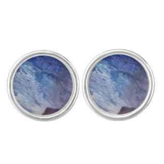 Het droevige blauwe witte paarse abstracte water manchetknopen
