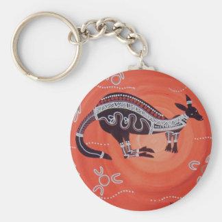 Het Dromen van de kangoeroe Basic Ronde Button Sleutelhanger
