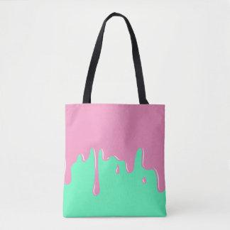 Het druipen Roze en het Munt Gekleurde Canvas tas
