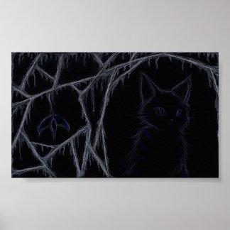 Het druipende poster van de spinnewebbenkat