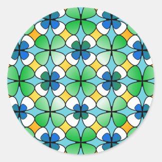Het Dubbel van de Klaver van vier Blad binnen Ronde Sticker