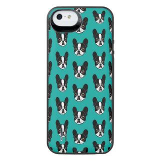 Het dubbele Bonte Franse Puppy Met een kap van de iPhone SE/5/5s Batterij Hoesje