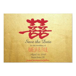 Het dubbele Chinese Huwelijk van het Geluk - 12,7x17,8 Uitnodiging Kaart