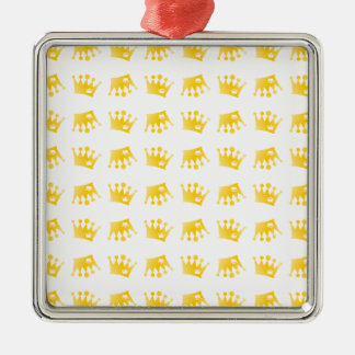 Het dubbele Patroon van de Kroon Zilverkleurig Vierkant Ornament