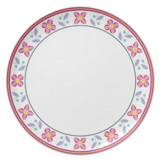 Het dubbele Roze van het Patroon van de Bloem Melamine+bord