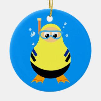 Het duiken Cartoon Snorkeler Rond Keramisch Ornament