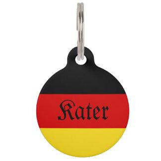 """Het Duitse (Mannelijke) Label van de Kat """"Kater"""" Huisdierpenning"""
