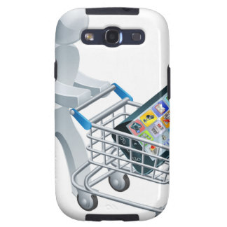 Het duwende karretje van de persoon met mobiele te samsung galaxy s3 covers