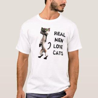 Het echte man houdt katten van T-shirt 2