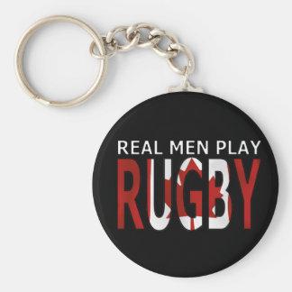 Het echte man speelt rugby Canada Basic Ronde Button Sleutelhanger
