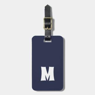 Het eenvoudige Blauwe Witte Gewaagde Monogram van Kofferlabels